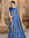 image of Patola Silk Fabric Party Wear Saree In Blue Color