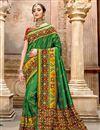 image of Dark Green Color Patola Silk Fabric Festive Wear Saree