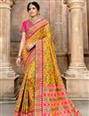 image of Mustard Color Traditional Saree In Patola Silk Fabric