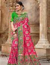 image of Patola Silk Fabric Rani Color Designer Saree
