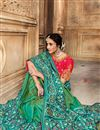 photo of Sea Green Color Party Wear Saree In Patola Silk Fabric