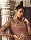 picture of Function Wear Embroidered Rust Color Floor Length Anarkali Dress In Net Fabric
