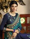 photo of Fancy Fabric Sangeet Wear Designer Navy Blue Embroidered Saree