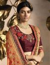 photo of Peach Fancy Fabric Sangeet Wear Designer Embroidered Saree