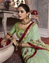 photo of Art Silk Fancy Sea Green Traditional Wear Thread Embroidered Saree