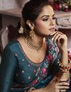 photo of Fancy Art Silk Traditional Wear Teal Thread Embroidered Saree