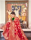 photo of Red Color Banarasi Silk Fabric Sangeet Function Wear Designer Weaving Work Saree