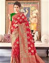 image of Red Color Banarasi Silk Fabric Sangeet Function Wear Designer Weaving Work Saree