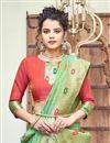 photo of Eid Special Sea Green Color Banarasi Silk Fabric Sangeet Function Wear Designer Weaving Work Saree
