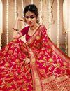photo of Banarasi Art Silk Fabric Rani Color Function Wear Weaving Work Saree