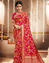 image of Banarasi Art Silk Fabric Rani Color Function Wear Weaving Work Saree