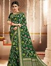 image of Party Wear Green Color Banarasi Art Silk Fabric Weaving Work Saree