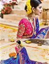 photo of Blue Color Wedding Wear Designer Fancy Fabric Saree With Artistic Embroidery Designs