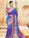 image of Dazzling Blue Color Wedding Wear Embroidered Designer Saree In Fancy Fabric