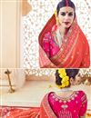 photo of Orange Color Embroidered Fancy fabric Party Wear Saree With Unstitched Designer Blouse
