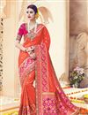 image of Orange Color Embroidered Fancy fabric Party Wear Saree With Unstitched Designer Blouse