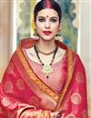 photo of Dazzling Red Color Wedding Wear Embroidered Designer Saree In Fancy Fabric