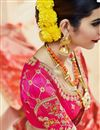photo of Party Wear Orange Color Embroidered Fancy fabric Saree With Unstitched Designer Blouse