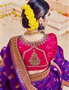 picture of Marvelously Embroidered Fancy Fabric Purple Color Saree With Unstitched Designer Blouse