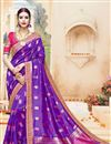 image of Marvelously Embroidered Fancy Fabric Purple Color Saree With Unstitched Designer Blouse