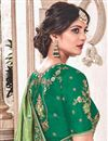 photo of Embroidery Work On Fancy Fabric Green Designer Saree With Party Wear Blouse