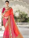 image of Party Wear Peach Weaving Work Fancy Saree In Art Silk