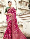 image of Function Wear Fancy Pink Designer Banarasi Silk Saree With Weaving Work