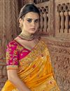 photo of Sangeet Function Wear Art Silk Saree With Fancy Blouse In Orange