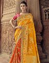 image of Sangeet Function Wear Art Silk Saree With Fancy Blouse In Orange
