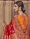 photo of Art Silk Sangeet Function Wear Red Saree With Designer Blouse