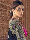 picture of Art Silk Sangeet Function Wear Navy Blue Saree With Designer Blouse