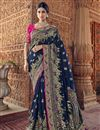 image of Art Silk Sangeet Function Wear Navy Blue Saree With Designer Blouse