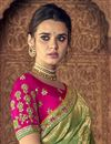 photo of Sea Green Sangeet Function Wear Art Silk Saree With Designer Blouse