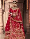 image of Wedding Function Wear Silk Fabric Embroidered Red Color Lehenga Choli
