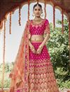 image of Wedding Function Wear Magenta Color Embroidered Silk Fabric Lehenga Choli