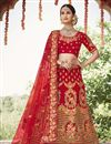 image of Silk Fabric Wedding Function Wear Embroidered Lehenga In Red Color
