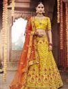 image of Silk Fabric Wedding Function Wear Yellow Color Embroidered Lehenga