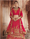 image of Wedding Function Wear Silk Fabric Embroidered Lehenga Choli In Red Color