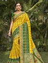 image of Yellow Color Wedding Wear Silk Fabric Fancy Saree With Embroidered Blouse