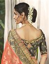 photo of Wedding Wear Fancy Peach Color Saree With Embroidered Blouse In Silk Fabric