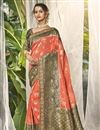 image of Wedding Wear Fancy Peach Color Saree With Embroidered Blouse In Silk Fabric