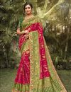 image of Wedding Wear Silk Fabric Fancy Red Color Saree With Embroidered Blouse