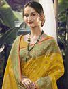 photo of Art Silk Fabric Function Wear Yellow Color Weaving Work Saree