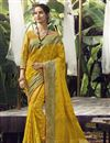 image of Art Silk Fabric Function Wear Yellow Color Weaving Work Saree