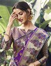 photo of Art Silk Fabric Festive Wear Purple Color Weaving Work Saree