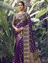 image of Art Silk Fabric Festive Wear Purple Color Weaving Work Saree