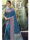 image of Party Wear Art Silk Fabric Weaving Work Saree In Teal Color