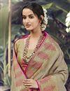 photo of Art Silk Fabric Sangeet Wear Cream Color Weaving Work Saree