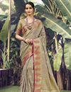 image of Art Silk Fabric Sangeet Wear Cream Color Weaving Work Saree