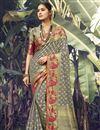 image of Art Silk Fabric Wedding Wear Dark Beige Color Weaving Work Saree